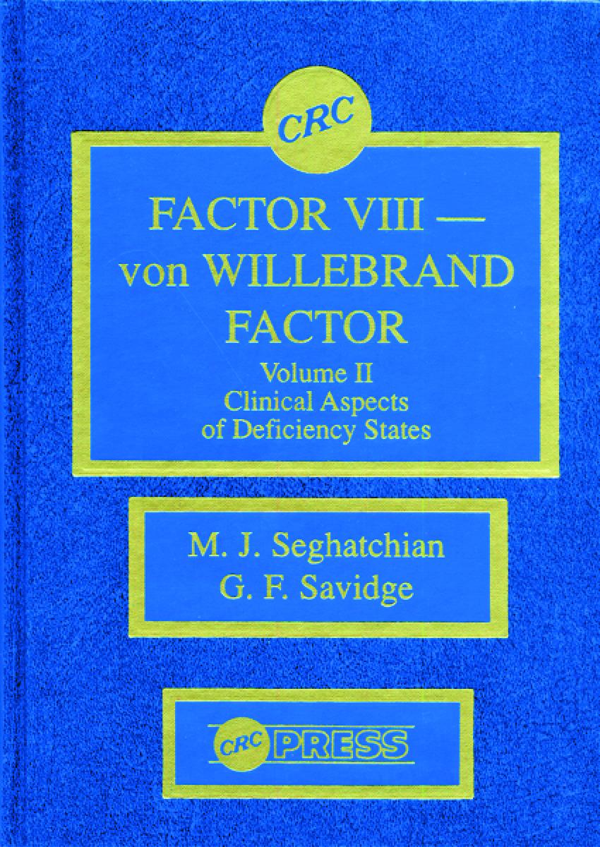 Factor VIII - von Willebrand Factor, Volume II: 1st Edition (Hardback) book cover