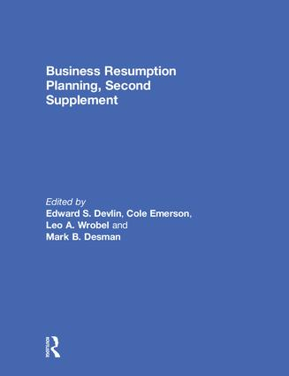Business Resumption Planning, Second Supplement: 1st Edition (Hardback) book cover
