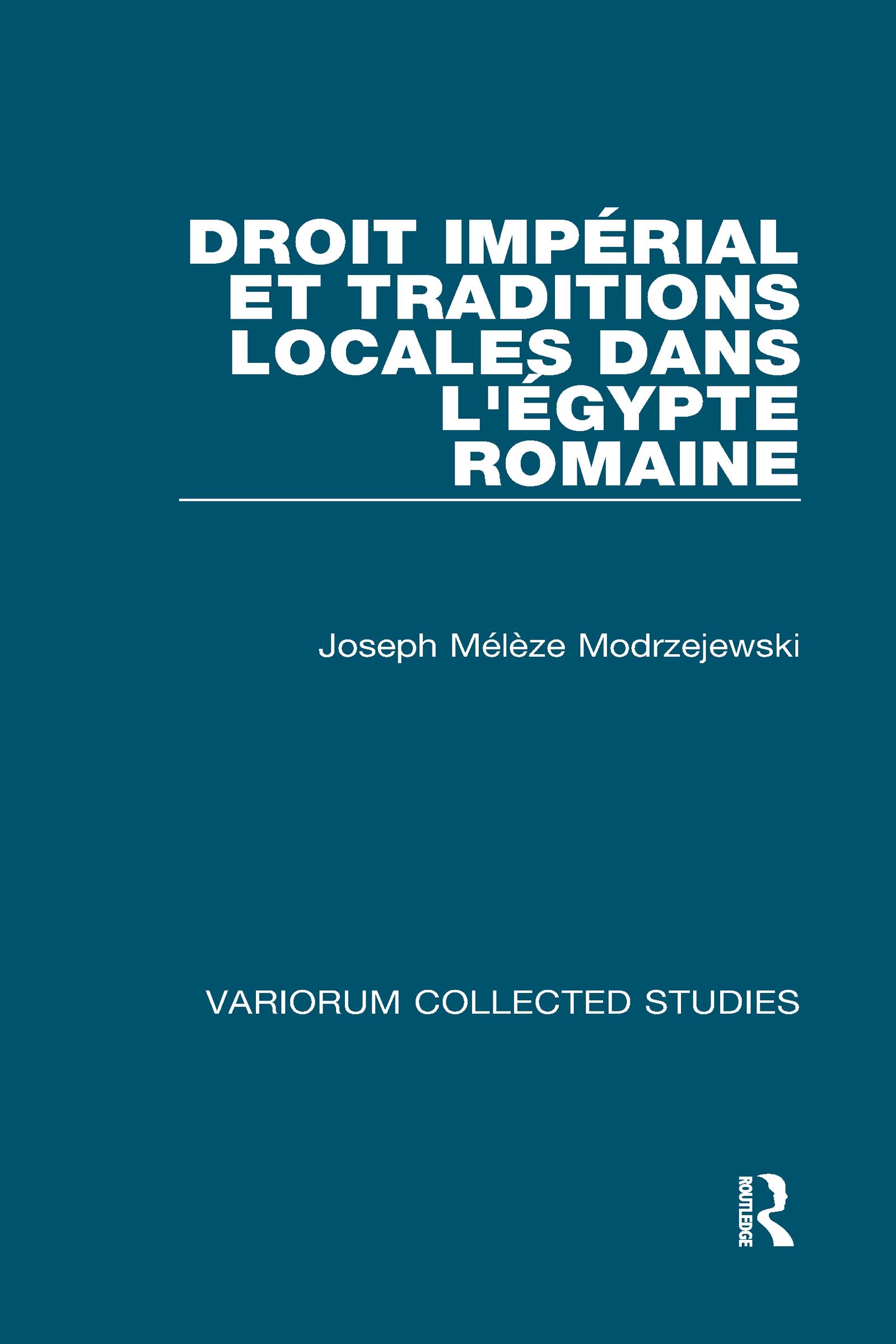 Droit impérial et traditions locales dans l'Égypte romaine book cover
