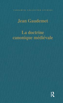 La doctrine canonique médiévale book cover