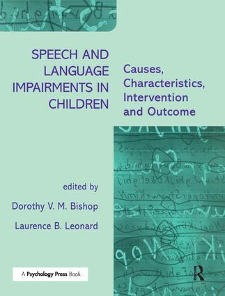 Speech and Language Impairments in Children: Causes, Characteristics, Intervention and Outcome (Paperback) book cover