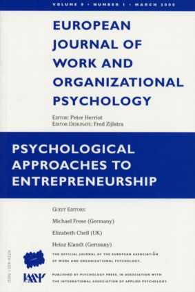 Psychological Approaches to Entrepreneurship: A Special Issue of the European Journal of Work and Organizational Psychology, 1st Edition (Paperback) book cover