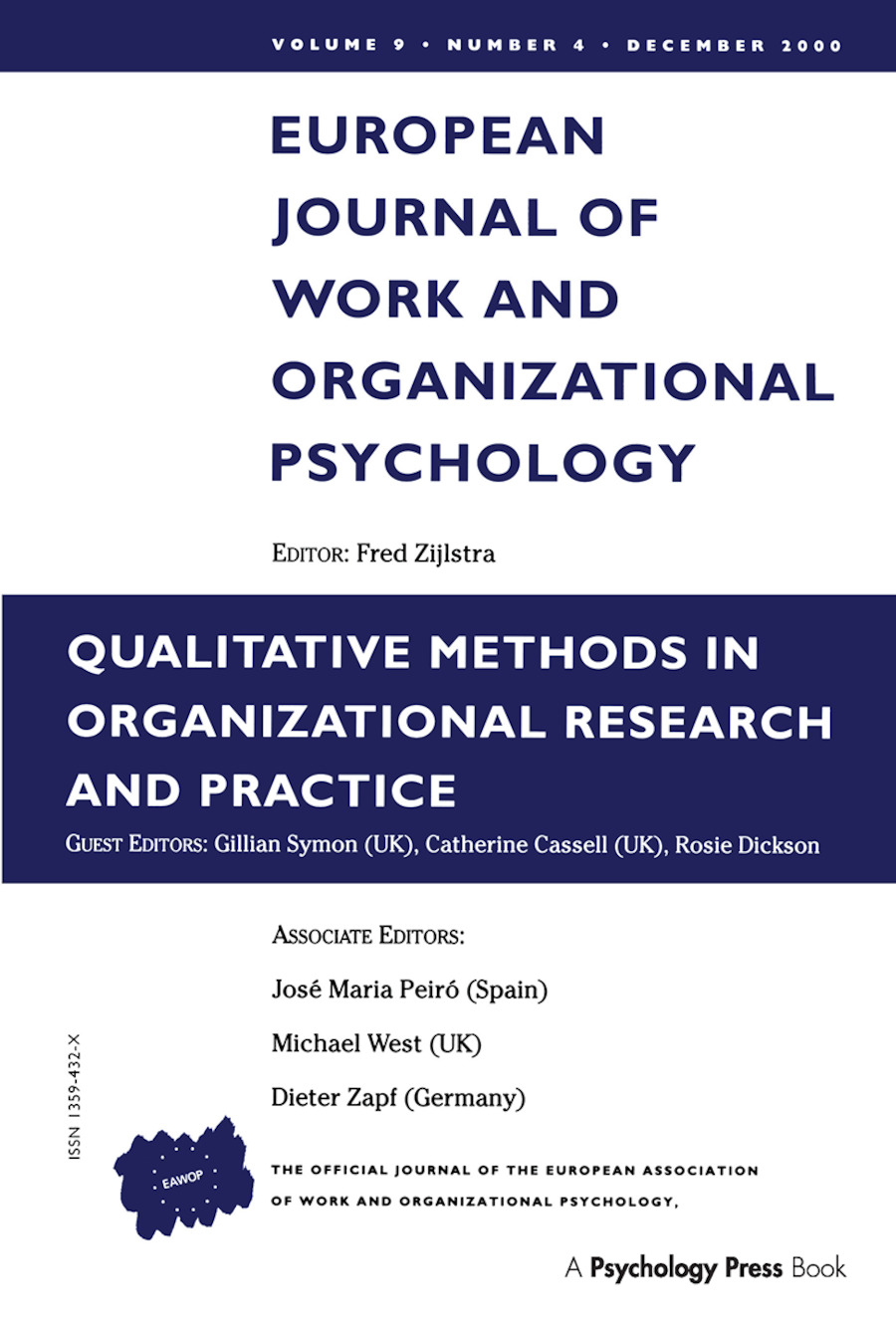 Qualitative Methods in Organizational Research and Practice: A Special Issue of the European Journal of Work and Organizational Psychology (Paperback) book cover