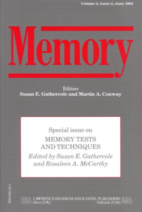 Memory Tests and Techniques: A Special Issue of Memory book cover