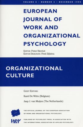 Organizational Culture: A Special Issue of the European Journal of Work and Organizational Psychology book cover