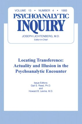Locating Transference: Psychoanalytic Inquiry, 13.4 (Hardback) book cover