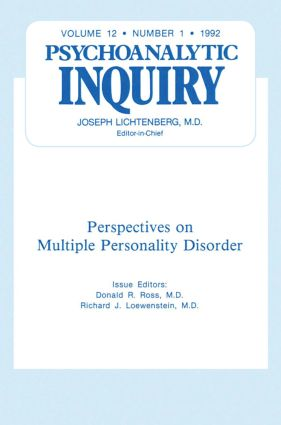 Multiple Personality Disorder: Psychoanalytic Inquiry, 12.1 (Hardback) book cover