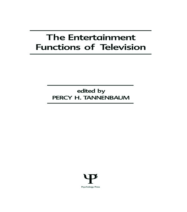 The Entertainment Functions of Television (Hardback) book cover