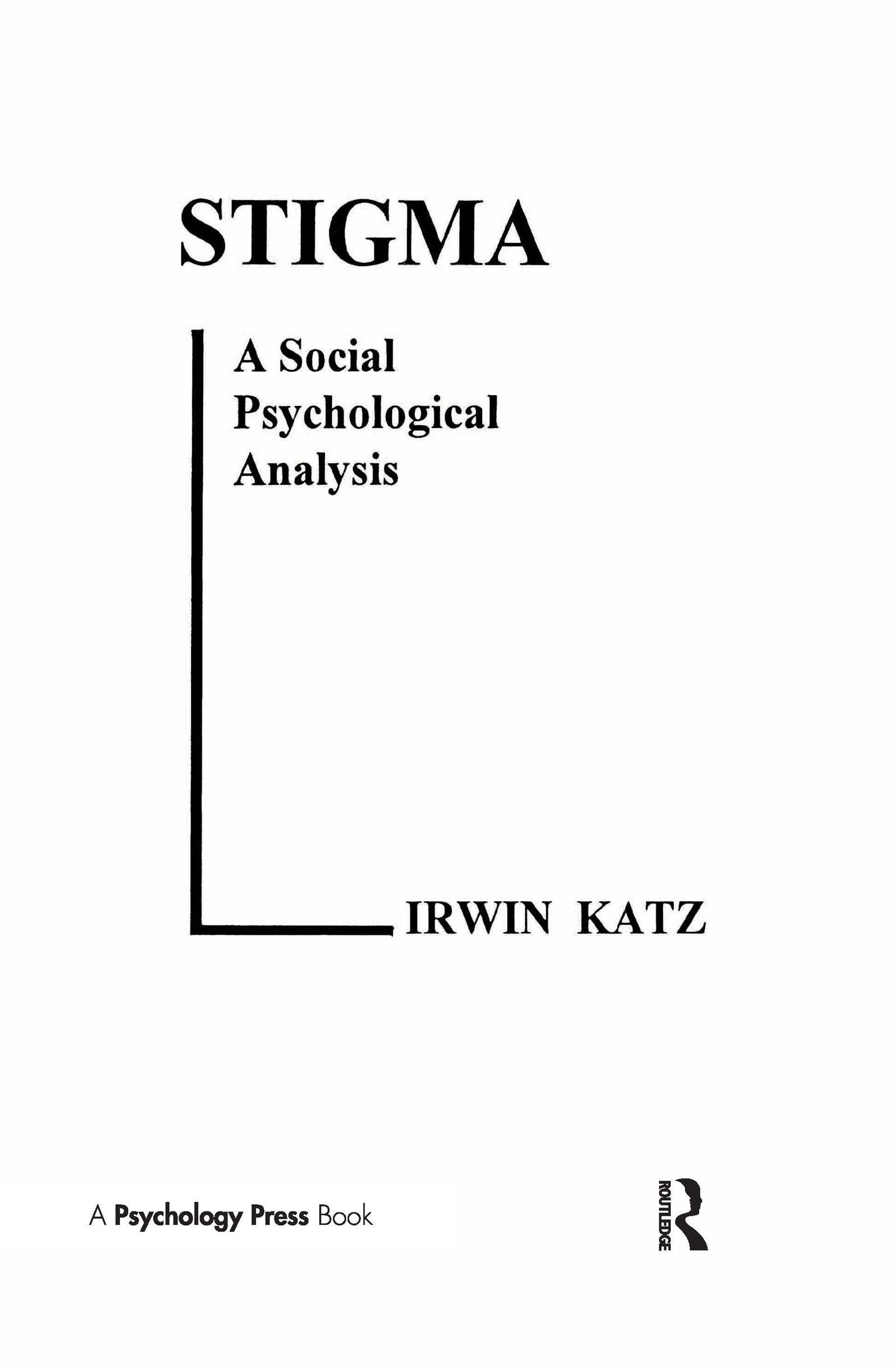 Stigma: A Social Psychological Analysis, 1st Edition (Hardback) book cover