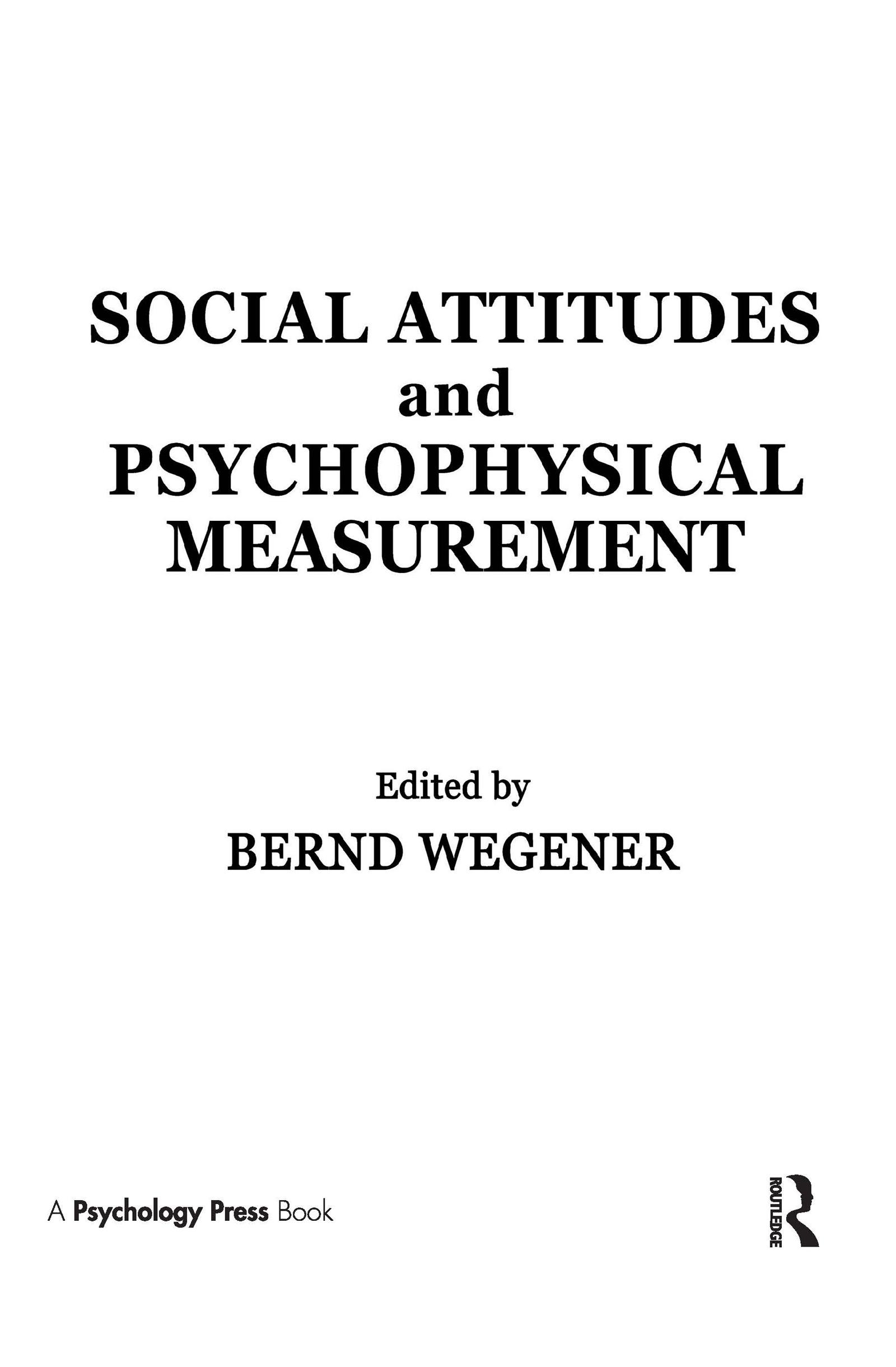 Social Attitudes and Psychophysical Measurement: 1st Edition (Hardback) book cover