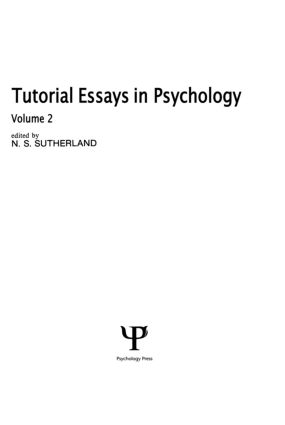 Tutorial Essays in Psychology: Volume 2, 1st Edition (Hardback) book cover