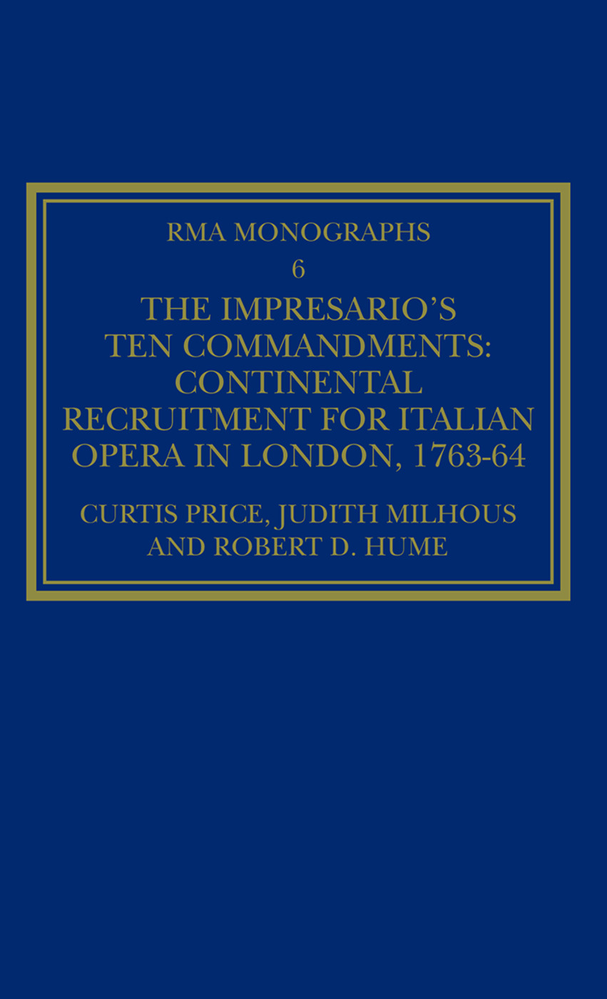 The Impresario's Ten Commandments: Continental Recruitment for Italian Opera in London 1763-64 book cover