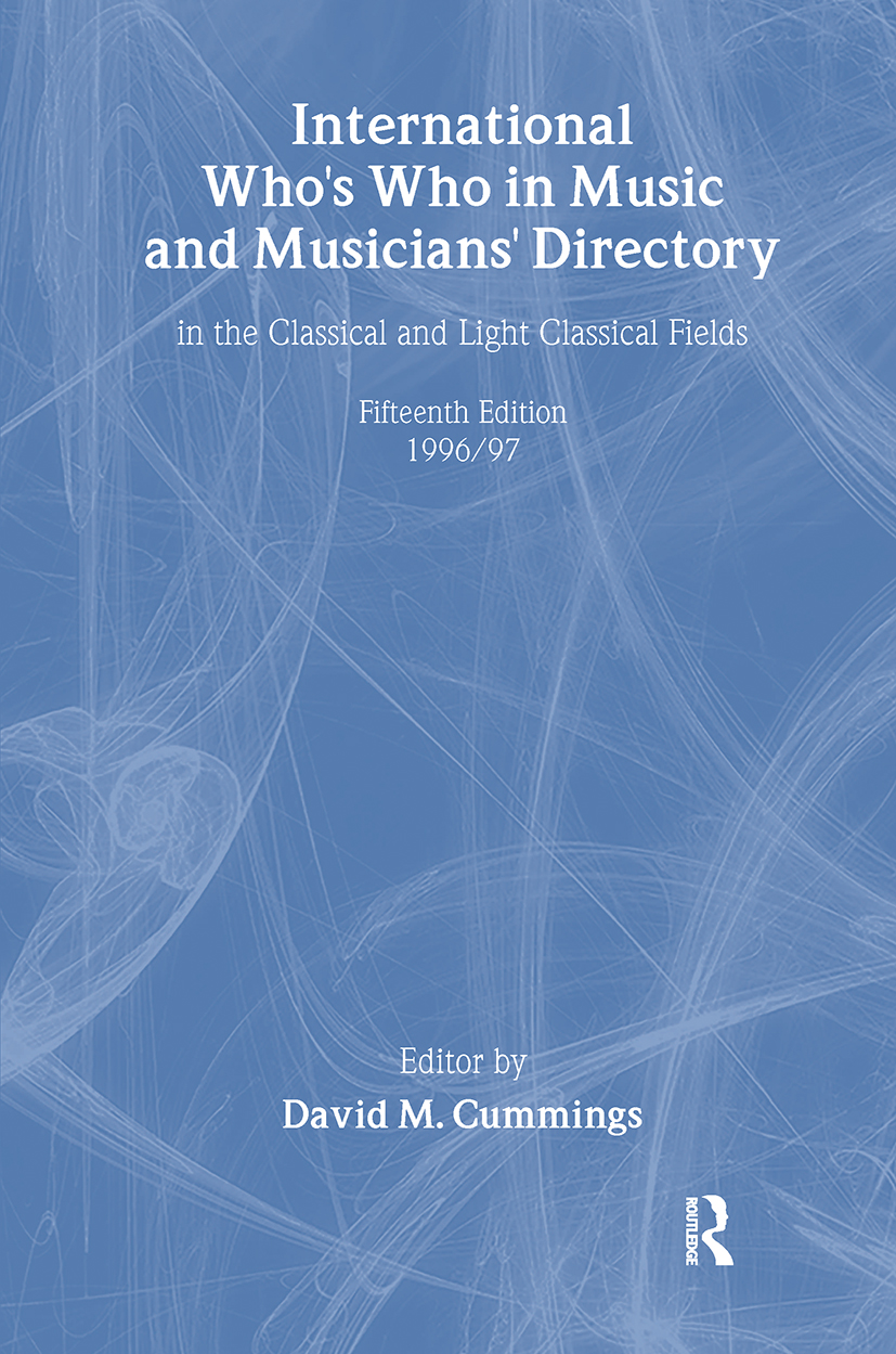 Intl Whos Who Music&Ency Ed15: 1st Edition (Hardback) book cover