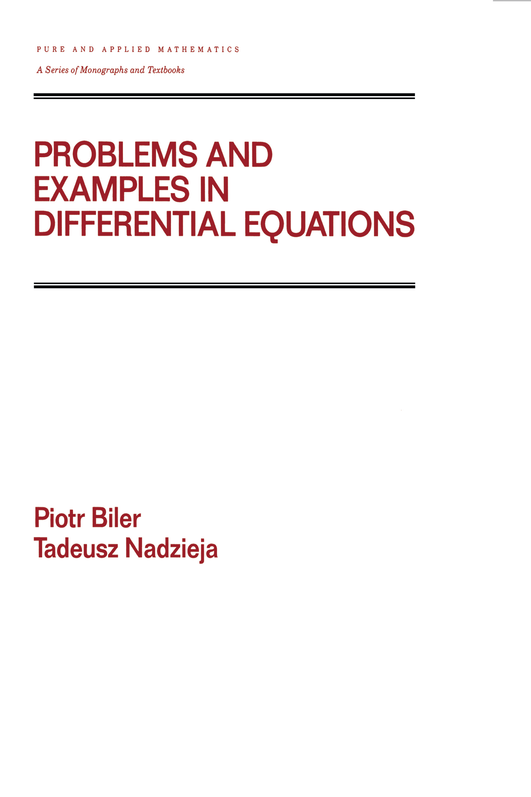 Problems and Examples in Differential Equations