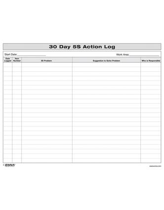 5S: 30 Day Action Log: 1st Edition (Loose-leaf) book cover