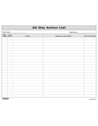 30 Day Action List: 1st Edition (Loose-leaf) book cover