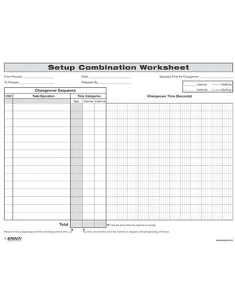 Quick Changeover: Setup Combination Worksheet: Setup Combination Worksheet, 1st Edition (Loose-leaf) book cover
