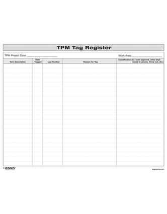 TPM Tag Register: TPM Tag Register, 1st Edition (Loose-leaf) book cover