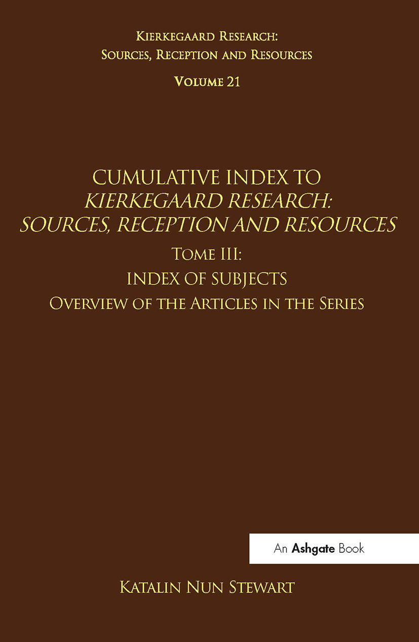 Volume 21, Tome III: Cumulative Index: Index of Subjects, Overview of the Articles in the Series (Hardback) book cover