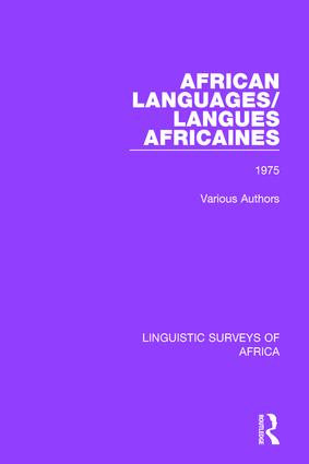 African Languages/Langues Africaines: Volume 1 1975 book cover