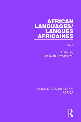 African Languages/Langues Africaines: Volume 3 1977 book cover