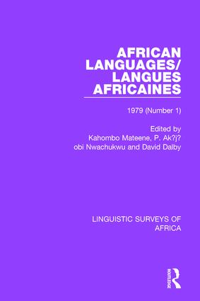 African Languages/Langues Africaines: Volume 5 (1) 1979 book cover
