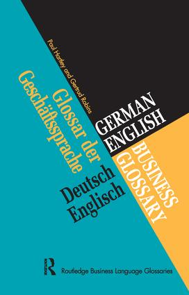 German/English Business Glossary: 1st Edition (Hardback) book cover