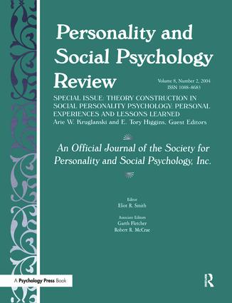 Theory Construction in Social Personality Psychology: Personal Experiences and Lessons Learned: A Special Issue of personality and Social Psychology Review (Paperback) book cover