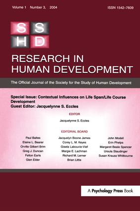 Contextual Influences on Life Span/life Course: A Special Issue of Research in Human Development (Paperback) book cover
