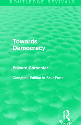 Towards Democracy: 1st Edition (Paperback) book cover