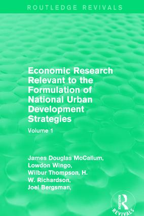 Economic Research Relevant to the Formulation of National Urban Development Strategies: Volume 1 book cover