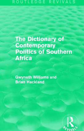 The Dictionary of Contemporary Politics of Southern Africa: 1st Edition (Hardback) book cover