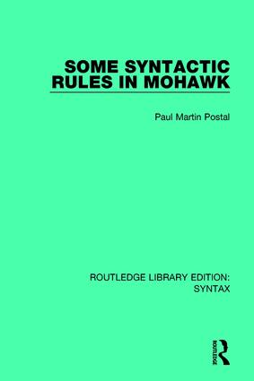 Some Syntactic Rules in Mohawk