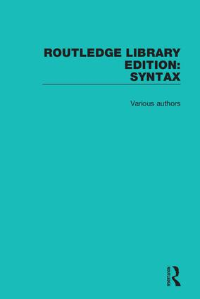 Routledge Library Editions: Syntax: 1st Edition (Hardback) book cover