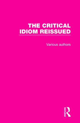 The Critical Idiom Reissued book cover