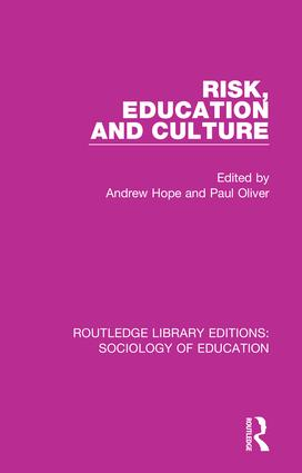 Risk, Education and Culture book cover