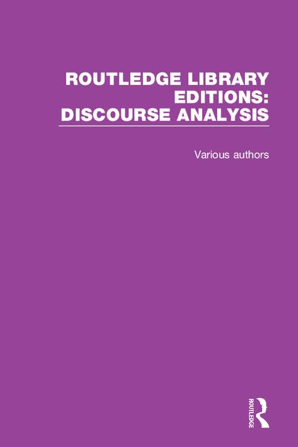Routledge Library Editions: Discourse Analysis book cover