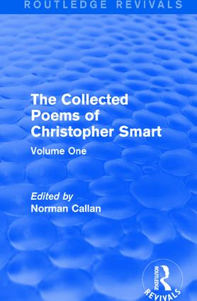 Routledge Revivals: The Collected Poems of Christopher Smart (1949): Volume One book cover