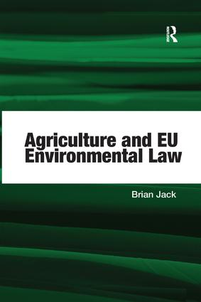 Agriculture and EU Environmental Law book cover