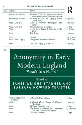 Anonymity in Early Modern England