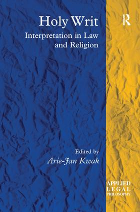 Holy Writ: Interpretation in Law and Religion book cover