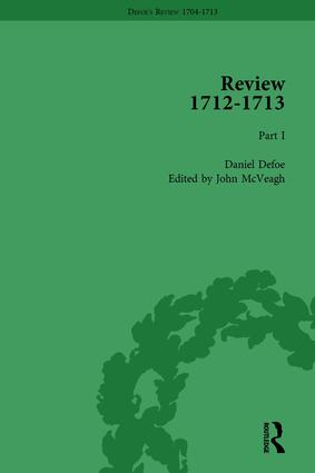Defoe's Review 1704–13, Volume 9 (1712–13), Part I: 1st Edition (Hardback) book cover