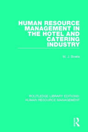 Human Resource Management in the Hotel and Catering Industry book cover