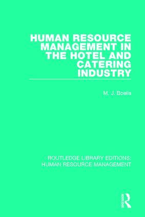 Human Resource Management in the Hotel and Catering Industry: 1st Edition (Paperback) book cover