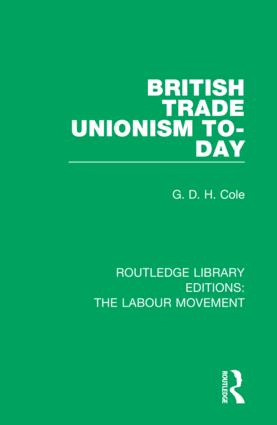 British Trade Unionism To-Day book cover
