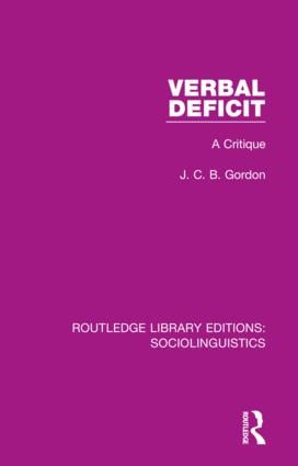 Verbal Deficit: A Critique, 1st Edition (Hardback) book cover