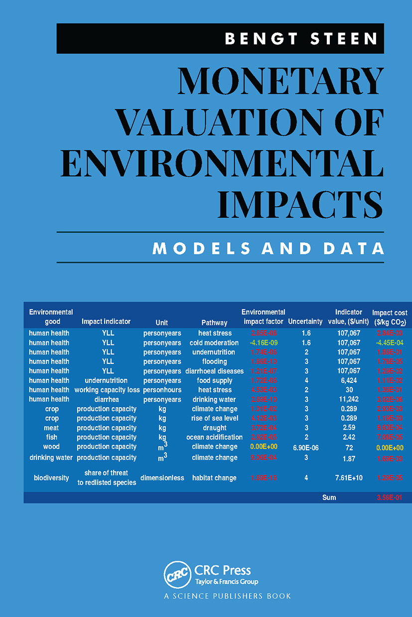 Monetary Valuation of Environmental Impacts: Models and Data book cover