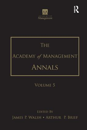The Academy of Management Annals, Volume 5: 1st Edition (Paperback) book cover