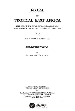 Flora of Tropical East Africa - Hydrocharitaceae (1989): 1st Edition (Paperback) book cover