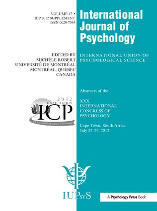 XXX International Congress of Psychology: Abstracts: 1st Edition (Hardback) book cover